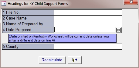 KY Child Support Worksheet