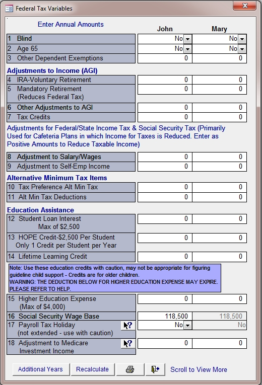 Federal Tax Variables